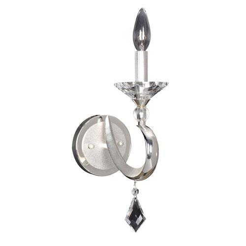 Scarlatti Two-Tone Silver One-Light 16-Inch Wide Wall Bracket with Firenze Clear Crystal