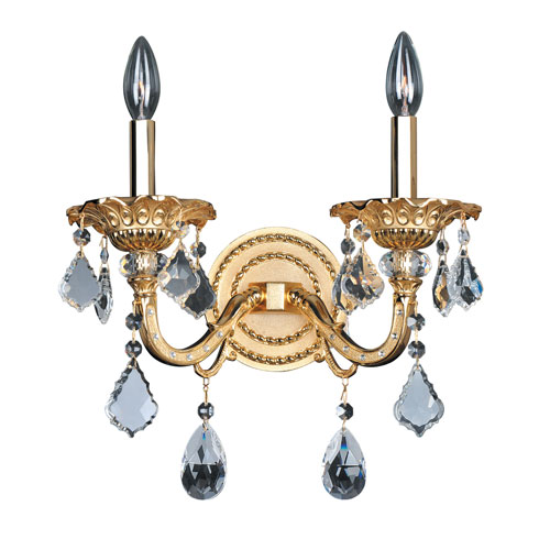 Allegri by Kalco Vivaldi Two-Tone 24K Gold Two-Light 13.5-Inch Wide Wall Bracket with Firenze Clear Crystal
