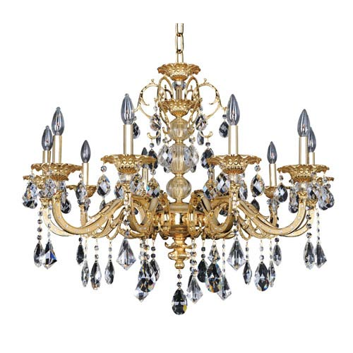 Allegri by Kalco Vivaldi Two-Tone 24K Gold 10-Light 33.5-Inch Wide Chandelier with Firenze Clear Crystal