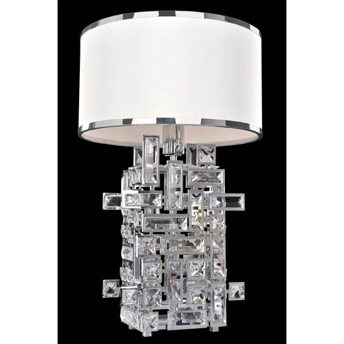 Vermeer Chrome One-Light Table Lamp with Firenze Clear Crystal