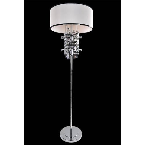 Vermeer Chrome Three-Light Floor Lamp with Firenze Clear Crystal