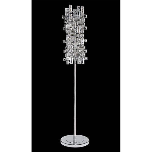 Vermeer Chrome Four-Light Floor Lamp with Firenze Clear Crystal