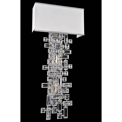 Vermeer Chrome Six-Light Sconce with Firenze Clear Crystal