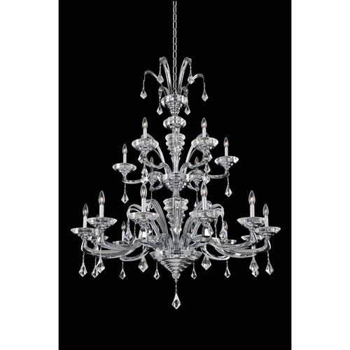 Allegri by Kalco Cosimo Polished Chrome 18-Light Chandelier with Firenze Clear Crystal