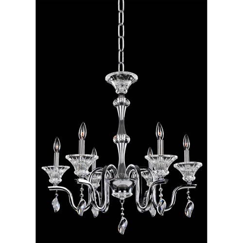Allegri by Kalco Lusso Chrome Six-Light Chandelier with Firenze Clear Crystal