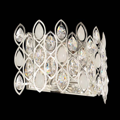 Prive Silver Four-Light Horizontal Sconce with Firenze Clear Crystal