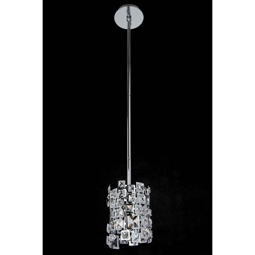 Dolo Chrome One-Light Mini Pendant with Firenze Clear Crystal