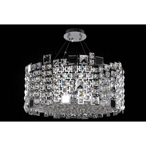 Allegri by Kalco Dolo Chrome Eight-Light Pendant with Firenze Clear Crystal