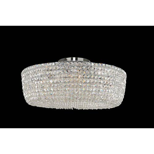 Cessano Polished Chrome Eight-Light Semi Flush with Firenze Clear Crystal
