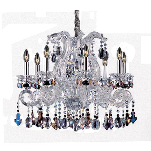 Allegri by Kalco Lorraine Chrome Eight-Light 28-Inch Wide Chandelier with Firenze Mixed Crystal