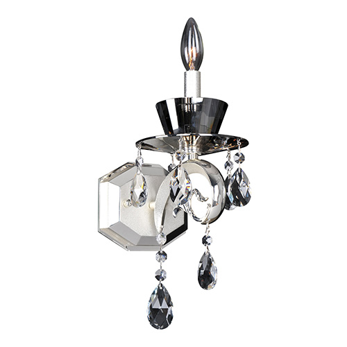 Allegri by Kalco Locatelli Two-Tone Silver One-Light Wall Bracket with Firenze Clear Crystal
