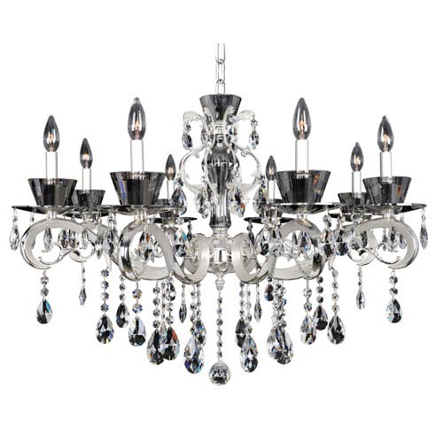 Allegri by Kalco Locatelli Two-Tone Silver Eight-Light Chandelier with Firenze Clear Crystal