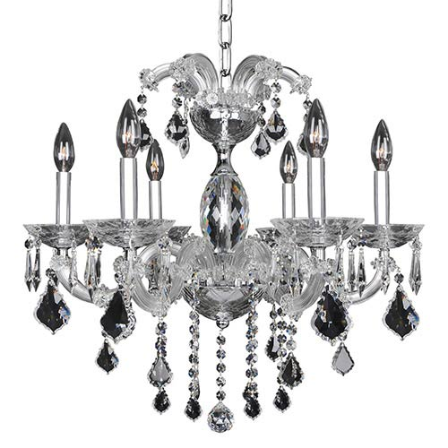 Allegri by Kalco Giordano Chrome Six-Light 24-Inch Wide Chandelier with Firenze Clear Crystal