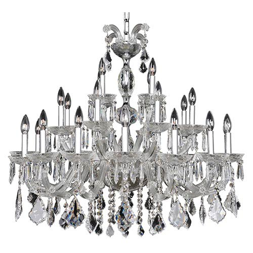 Allegri by Kalco Giordano Chrome 28-Light 38-Inch Wide Chandelier with Firenze Clear Crystal