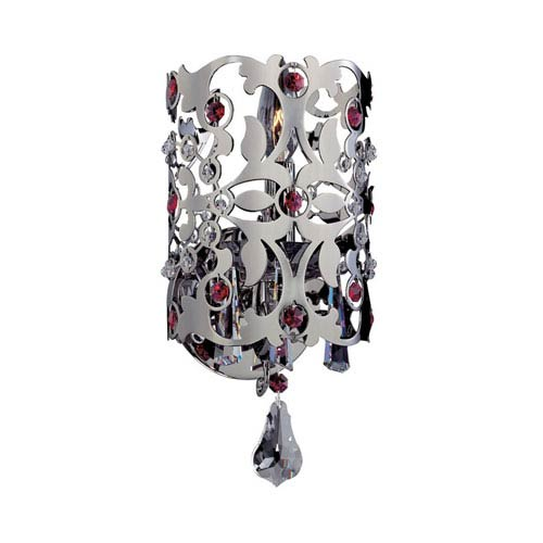 Bizet Black Pearl One-Light Sconce with Firenze Clear Crystal