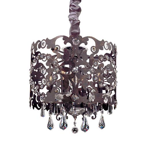 Bizet Black Pearl Four-Light Chandelier with Swarovski Strass Clear Crystal