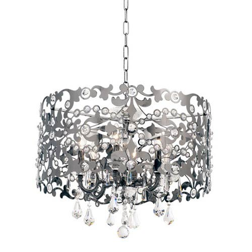Allegri by Kalco Bizet Sienna Bronze Six-Light Chandelier with Firenze Clear Crystal