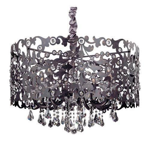 Allegri by Kalco Bizet Black Pearl Eight-Light Chandelier with Firenze Clear Crystal