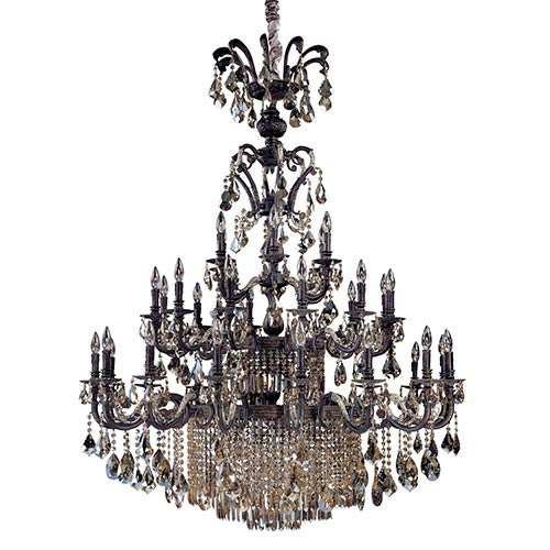 Avelli Sienna Bronze and Antique Silver Leaf 41-Light Two Tier Chandelier with Firenze Fleet Gold Crystal
