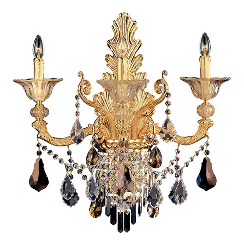 Mendelsshon Two-Tone 24K Gold Three-Light Wall Bracket with Firenze Mixed Crystal