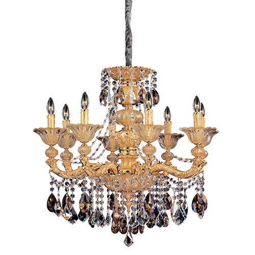 Allegri by Kalco Mendelsshon Two-Tone 24K Gold Eight-Light Chandelier with Firenze Mixed Crystal