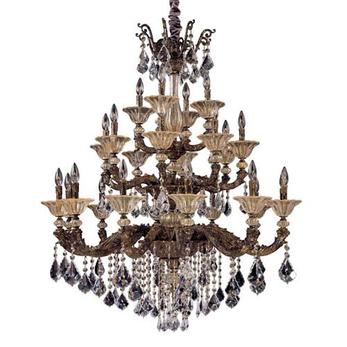 Allegri by Kalco Mendelsshon  Two-Tone Gold 24K 24-Light Chandelier with Firenze Mixed Crystal