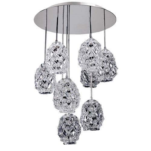 Allegri by Kalco Veronese Chrome Nine-Light Convertible Round Pendant with Firenze Mixed Crystal
