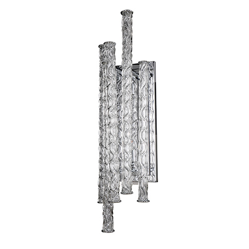 Boticelli Chrome Two-Light 30-Inch High Wall Bracket with Clear Glass