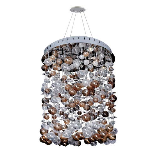 Allegri by Kalco Rubens Chrome Five-Light Round Convertible Pendant with Firenze Clear Crystal