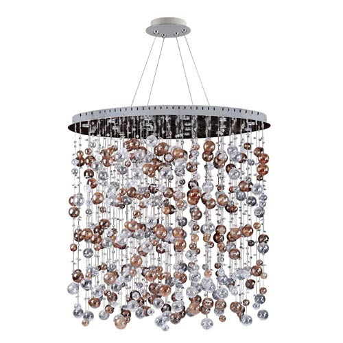 Allegri by Kalco Rubens Chrome 18-Light Oval Convertible Pendant with Firenze Clear Crystal