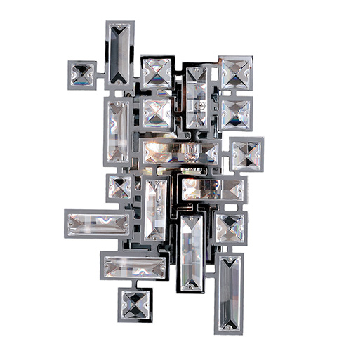 Vermeer Chrome Two-Light 12-Inch High Wall Bracket with Firenze Clear Crystal
