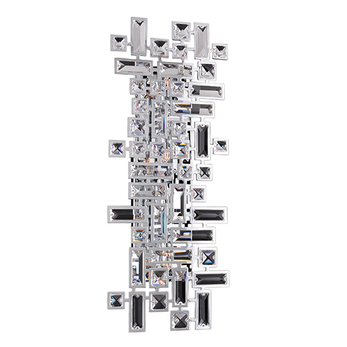Allegri by Kalco Vermeer Chrome Four-Light Wall Bracket with Firenze Clear Crystal