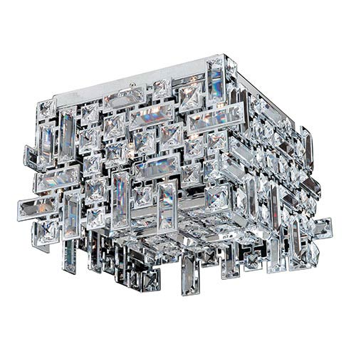 Allegri by Kalco Vermeer Chrome Square Four-Light Flush Mount with Firenze Clear Crystal
