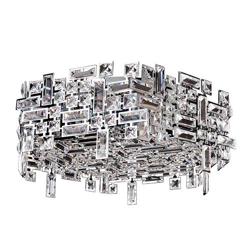Allegri by Kalco Vermeer Chrome Six-Light Hex Flush Mount with Firenze Clear Crystal