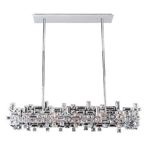 Vermeer Chrome Eight-Light Island Pendant with Swarovski Strass Crystal