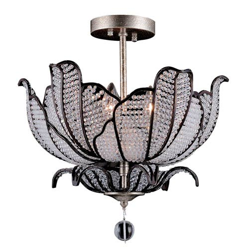 Tiepolo Silver Leaf and Sienna Bronze Three-Light Semi-Flush with Firenze Clear Crystal