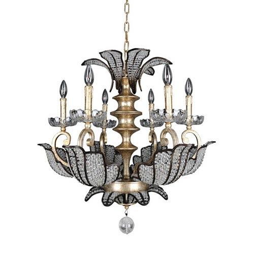 Allegri by Kalco Tiepolo  Silver Leaf Sienna Bronze Six-Light Chandelier with Swarovski Strass Clear Crystal