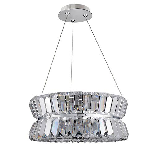 Armanno Chrome Three-Light Round Drum Pendant with Firenze Clear Crystal