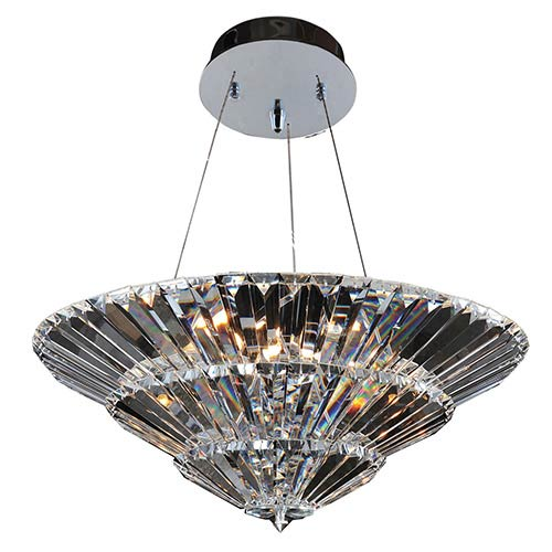 Auletta Chrome 15-Light Convertible Semi-Flush with Firenze Clear Crystal