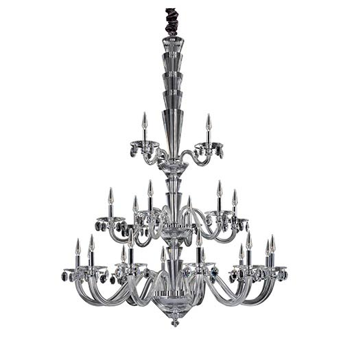 Fanshawe Chrome 21-Light Three Tier Chandelier with Firenze Clear Crystal