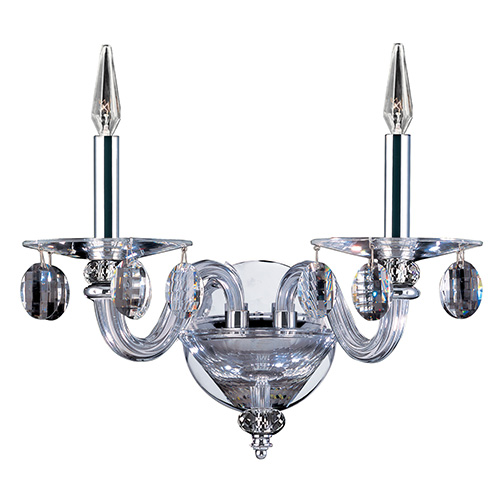 Fanshawe Chrome Two-Light Wall Sconce with Firenze Clear Crystal