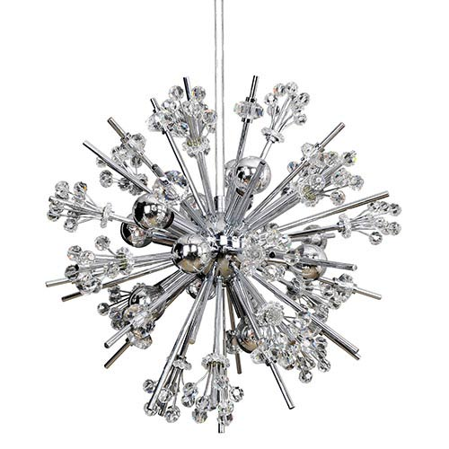 Constellation Chrome 10-Light 19-Inch Wide Pendant with Firenze Clear Crystal