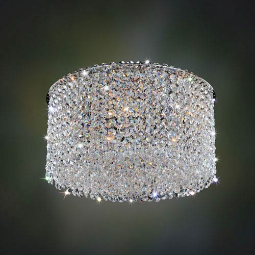 Milieu Metro Chrome Five-Light Flush Mount with Firenze Clear Crystal