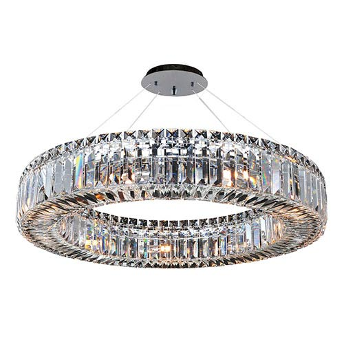 Allegri by Kalco Rondelle Chrome Nine-Light Round Pendant with Firenze Clear Crystal