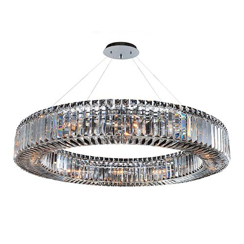 Allegri by Kalco Rondelle Chrome 12-Light Round Pendant with Firenze Clear Crystal