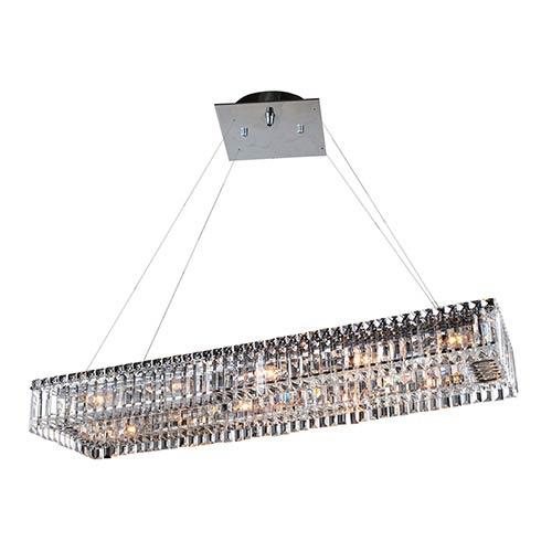Baguette Chrome 12-Light Rectangular Island Pendant