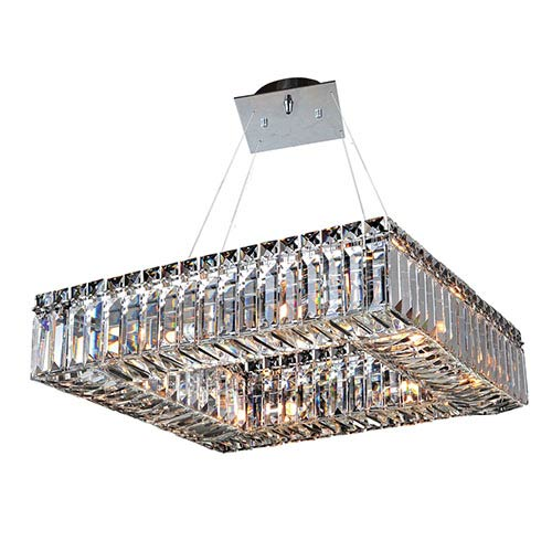 Allegri by Kalco Quadro Chrome Eight-Light Square Drum Pendant with Firenze Clear Crystal