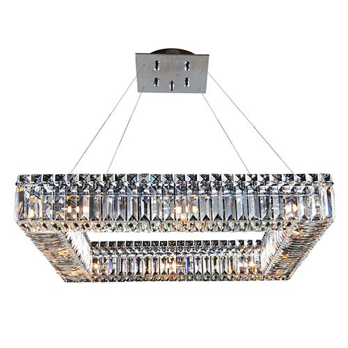 Allegri by Kalco Quadro Chrome 12-Light Square Drum Pendant with Firenze Clear Crystal