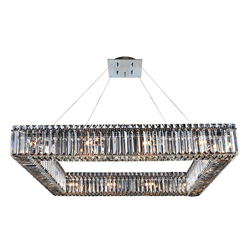 Allegri by Kalco Quadro Chrome 16-Light Square Drum Pendant with Firenze Clear Crystal