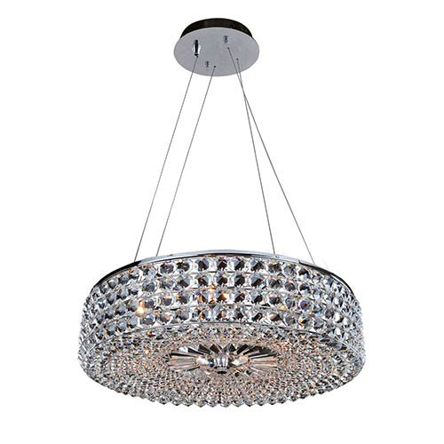 Allegri by Kalco Arche Chrome Six-Light Round Drum Pendant with Firenze Clear Crystal